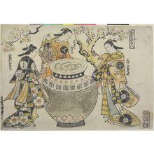 鳥居清信: Three Vinegar Tasters (Furyû osu no sannin) portrayed as Aburaya Osome, Daikyoji Osan and Yaoya Oshichi - characters from Chikamatsu Plays, Edo period, early 18th century - ハーバード大学