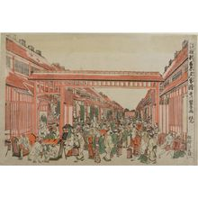Utagawa Toyoharu: Perspective View of Shin Yoshiwara in the Evening (Uki-e Shin Yoshiwara yûgure zu), Edo period, circa early 1780s - Harvard Art Museum