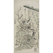 鳥居清倍: TWO ACTORS BEFORE A SMALL BUILDING, Edo period, - ハーバード大学