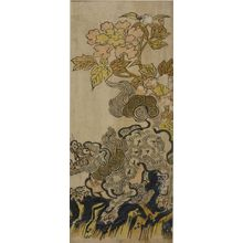 Okumura Masanobu: Lion and Peonies, Edo period, circa 1720-1730? - Harvard Art Museum