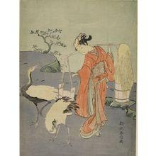 Suzuki Harunobu: Parody of Lin Heqing (Rinnasei) Woman with Cranes, Edo period, circa 1767-1768 (Meiwa 4-5) - Harvard Art Museum