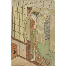 Suzuki Harunobu: Courtesan Looking Through a Curtain, the right half of No. 17 from the erotic series The Amorous Adventures of Mane'emon (Fûryû enshoku Mane'emon), Edo period, circa 1769-1770 (Meiwa 6-7) - Harvard Art Museum