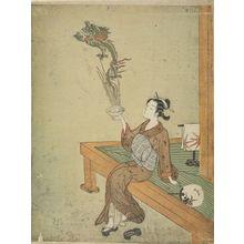 鈴木春信: Parody with Young Girl as a Daoist Immortal Handaka Sonja Conjuring a Dragon from a Bowl, Edo period, 1765 (Meiwa 2) - ハーバード大学