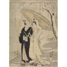 一筆斉文調: CROW AND HERON: ACTORS ICHIKAWA YAOZO 2ND AND SEGAWA KIKUNOJO 2ND AS TWO YOUNG LOVERS, Edo period, circa 1765-1770 - ハーバード大学