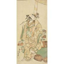 Ippitsusai Buncho: Actor Ichikawa Komazô Standing Beside a Shinto Shrine with Chrysanthemums - Harvard Art Museum