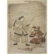 Suzuki Harunobu: Warriors Kumagai Naozane and Taira no Atsumori at Ichinotani, Edo period, circa 1767-1768 (Meiwa 4-5) - Harvard Art Museum