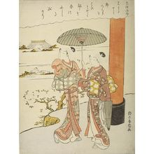 鈴木春信: Two Young Girls Pausing to Admire the View by a Torii, Edo period, circa 1765-1770 - ハーバード大学
