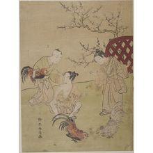 Suzuki Harunobu: Three Children with Three Fighting Cocks, Edo period, dated 1767 - Harvard Art Museum