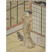 鈴木春信: Mistress of Tsuneyoshi (5th Shogun) with Small Dog Looking Out Toward the Water, Edo period, circa 1765-1770 - ハーバード大学