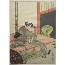 鈴木春信: Girl Embracing Lover on Verandah, Edo period, circa 1770 - ハーバード大学