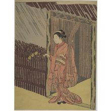鈴木春信: Parody of Ôta Dôkan (Woman with Branch of Yamabuki), Edo period, circa 1766-1767 (Meiwa 3-4) - ハーバード大学