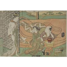 Isoda Koryusai: Man Smoking in Bed with Woman and Attendant, Watched by a Tiny Man (First Maneemon Series?), Edo period, circa 1765-1770 - Harvard Art Museum