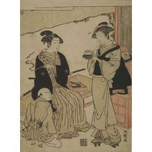 磯田湖龍齋: Youth Smoking on a Teahouse Verandah, Edo period, circa 1765-1780 - ハーバード大学