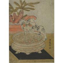 Isoda Koryusai: Cat and Goldfish Bowl, Edo period, circa 1765-1780 - Harvard Art Museum