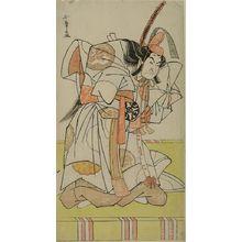 Katsukawa Shunsho: Actor Nakamura Nakazô 1st as Prince Takahiro in the play Date Nishiki Tsui no Yumitori, performed at the Morita Theater from the eleventh month of 1778, Edo period, 1778 (11th month) - Harvard Art Museum