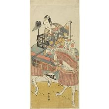 勝川春章: Actor Matsumoto Koshirô 2nd as Ogata no Saburô disguised as Matsuura Saemon in the play Ichi no Tomi Tsuki no Kaomise, performed at the Morita Theater from the eleventh month of 1774, Edo period, 1774 (11th month) - ハーバード大学