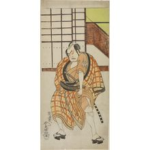 勝川春童: Actor Nakamura Sukegorô 2nd as Sasano Sangobei in part two of the play Green Willow Soga of Erotic Design (Iro Moyô Aoyagi Soga) performed at the Nakamura Theater in the second month, 1775, Edo period, 1775 (2nd month) - ハーバード大学