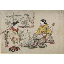 奥村利信: Woman Writing Letter with Woman Playing Shamisen by a Folding Screen - ハーバード大学