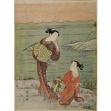鈴木春信: Two Girls by River: One Smoking a Pipe, One Kneeling, Edo period, circa 1765-1770 - ハーバード大学