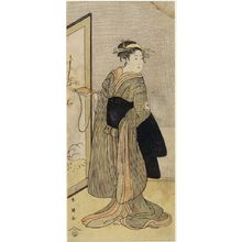 Katsukawa Shun'ei: WOMEN IN BLACK AND YELLOW STRIPED KIMONO - Harvard Art Museum