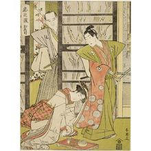 勝川春英: Act Two from the series Treasury of Loyal Retainers (Chûshingura: Ni danme): KOSAN MAKING LOVE TO RIKIYA - ハーバード大学