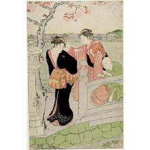 鳥居清長: Two Women with Children on a Bridge - ハーバード大学