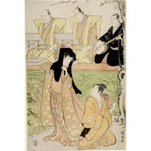 Torii Kiyonaga: Scene from the jôruri Ukina no Hatsugasumi (Kiriza, Spring 1788) showing Actors Iwai Hanshirô 4th as Hisamatsu and Segawa Kikunojô 3rd as Osome with Three Musicians (Takatsu edition), Mid Edo period, circa 1788 - Harvard Art Museum