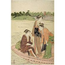 鳥居清長: Three Women Boating - ハーバード大学