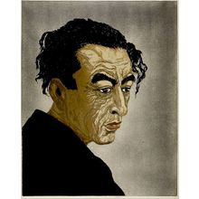 Onchi Koshiro: Portrait of Poet Hagiwara Sakutarô (posthumous edition 1957), Shôwa period, posthumous edition dated 1957 (original dated 1943) - Harvard Art Museum