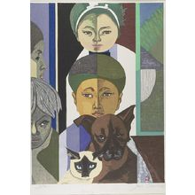 Sekino Jun'ichiro: My Family, Dog and Cat, Shôwa period, 1957 - Harvard Art Museum