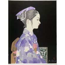 Sekino Jun'ichiro: Profile of Young Girl in Kimono, Shôwa period, dated 1957 - Harvard Art Museum