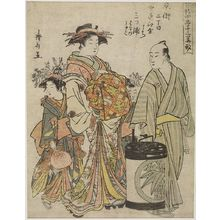 Torii Kiyonaga: Courtesan Mitsuura of the Nakaomiya Walking with Her Kamuro Haruno and Miyako and a Male Attendant, from the series Twelve Floral Types of the Four Seasons in the Brothel (Seirô shiki junihanagata) - Harvard Art Museum
