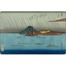 Utagawa Fusatane: Night Rain at Karasaki (Karasaki yoru no ame), from the series Eight Views of Omi (Omi hakkei), Late Edo period, circa 1853 - Harvard Art Museum