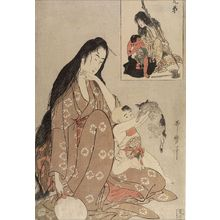 喜多川歌麿: Mother and Son (Yamauba and Kintarô), from the series Pictures of Brothers (E-kyodai), Late Edo period, circa 1801 - ハーバード大学