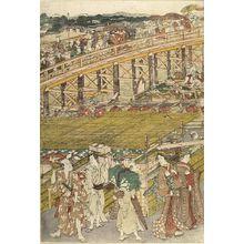 Utagawa Toyokuni I: ENJOYING THE EVENING BREZE AT RYOGOKU BUNGE - Harvard Art Museum