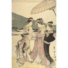 Utagawa Toyokuni I: PROCESSION OF WOMEN UNDER MT. FUJI (SET OF FIVE PRINTS) - Harvard Art Museum