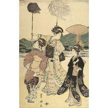 歌川豊国: PROCESSION OF WOMEN UNDER MT. FUJI (SET OF FIVE PRINTS) - ハーバード大学