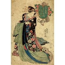 Utagawa Sadakage: WOMAN IN ELABORATE BLACK FLOWERED DRESS - Harvard Art Museum