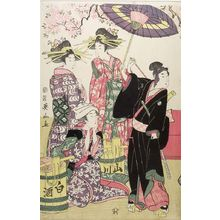 菊川英山: Sukeroku and Three Girls, Late Edo period, dated 1805 - ハーバード大学