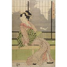 菊川英山: Woman Seated in Front of a Sliding Door, Late Edo period, circa early to mid 19th century - ハーバード大学