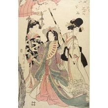 Kikugawa Eizan: Woman with Two Attendants, Late Edo period, circa 19th century - Harvard Art Museum