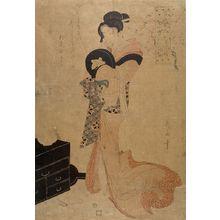 Kikugawa Eizan: Washing the Manuscript, from the series Refined Beauties as the Seven Komachi (Fûryû bijin nana Komachi: Soshi arai Komachi), Late Edo period, circa 1804 - Harvard Art Museum