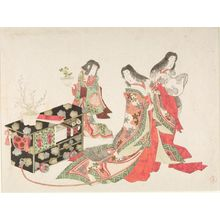 Kubo Shunman: Court Ladies and Child Holding Pheasant's Eye Plant (Fukujusô) by Wheeled Writing Table (Fuguruma) at New Year's, Edo period, circa early 19th century - Harvard Art Museum