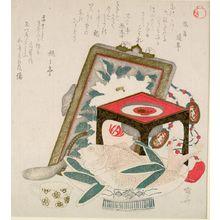 柳々居辰斎: Tai Fish, Tray, and Picture, Late Edo period, circa early 19th century - ハーバード大学