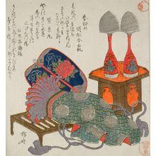 Ryuryukyo Shinsai: Sake Bottles, Wrestler's Apron, and Umpire's Fan, Late Edo period, circa early 19th century - Harvard Art Museum