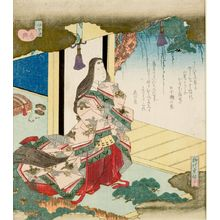 柳川重信: Court Lady on a Verandah, from the series Ise Shunkyô - ハーバード大学