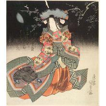 歌川国貞: Ono no Komachi Admiring the Moon, with poem by Shinsuitei Bagi, Edo period, circa 1826-1834 (late Bunsei-early Tempô era) - ハーバード大学