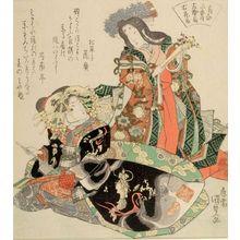歌川国貞: Left: Cypress Fan (Hidari, hiôgi), Right: Courtesan Hanaôgi (Migi Hanaôgi), from the series Three Fan Comparisons (Ôgi awase sanban no uchi), Edo period, circa 1820 (Bunsei 3) - ハーバード大学