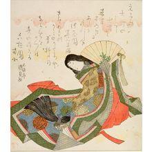 歌川国貞: Court Lady with Tasselled Fan, with poems by Chokaien Fumirumi and Rokkyokuen Namboku, Edo period, circa 1819 (Bunsei 2) - ハーバード大学
