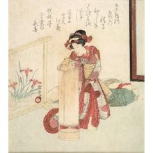 Utagawa Kuniyasu: GIRL LIGHTING LAMP - Harvard Art Museum
